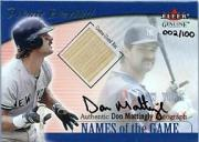 2001 Fleer Genuine Names Of The Game Autographs #13 Don Mattingly Bat