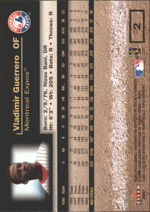 2001 Fleer Triple Crown #2 Vladimir Guerrero back image