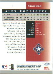 2001 Leaf Certified Materials #1 Alex Rodriguez back image