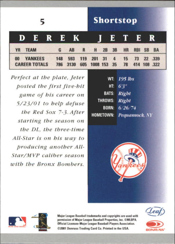 2001 Leaf Certified Materials #5 Derek Jeter back image