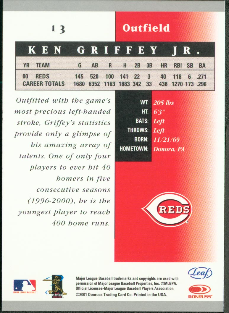 2001 Leaf Certified Materials #13 Ken Griffey Jr. back image