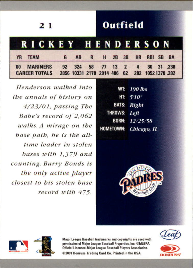 2001 Leaf Certified Materials #21 Rickey Henderson back image