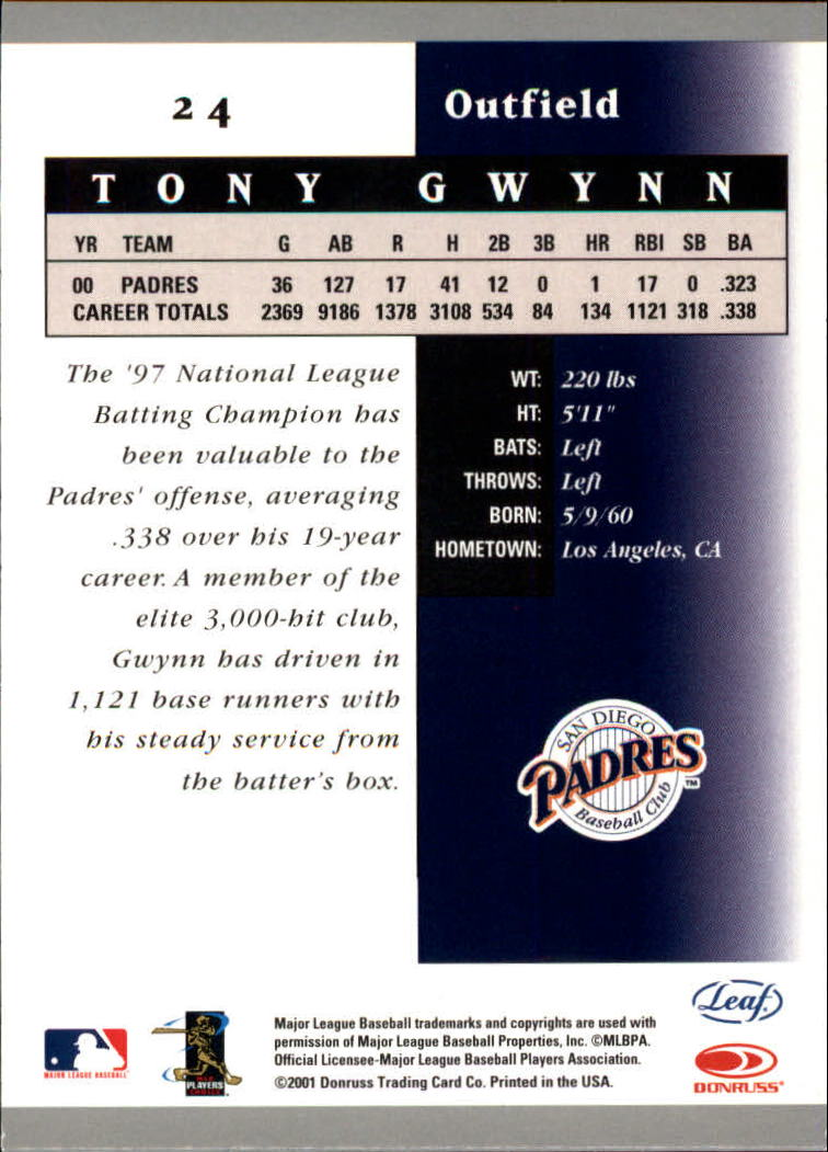2001 Leaf Certified Materials #24 Tony Gwynn back image