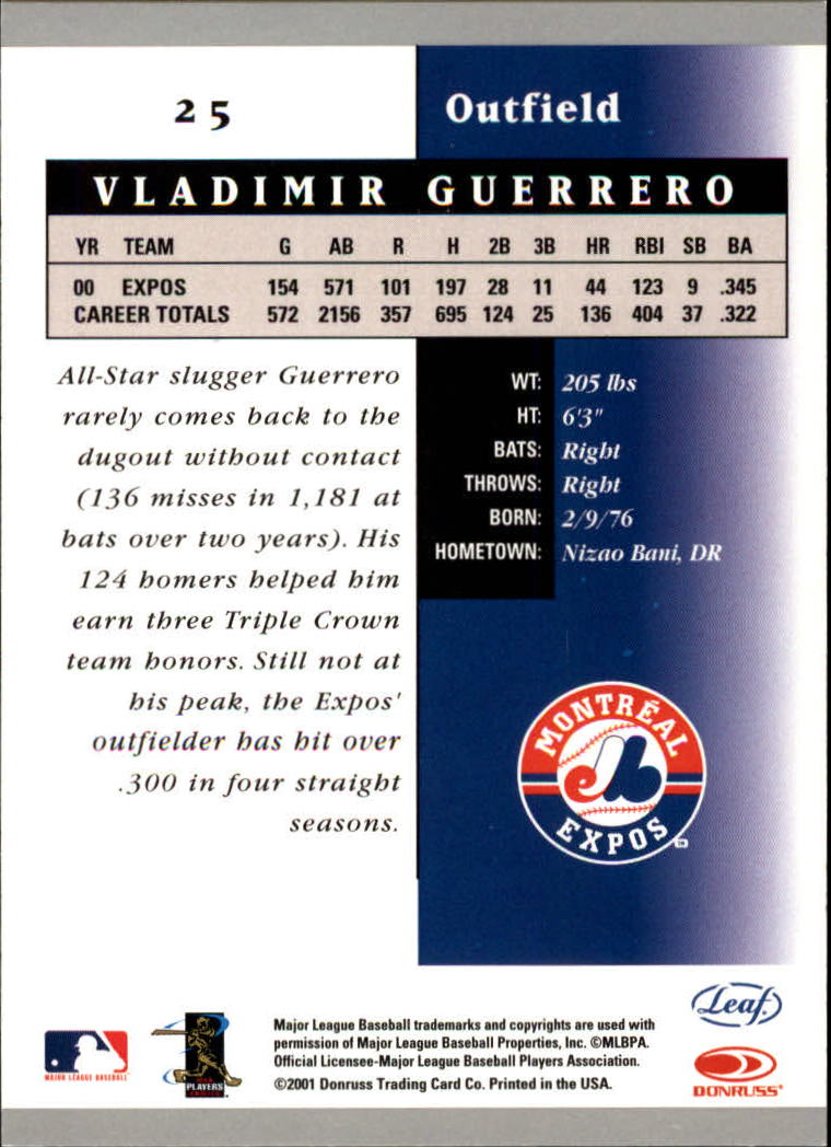 2001 Leaf Certified Materials #25 Vladimir Guerrero back image