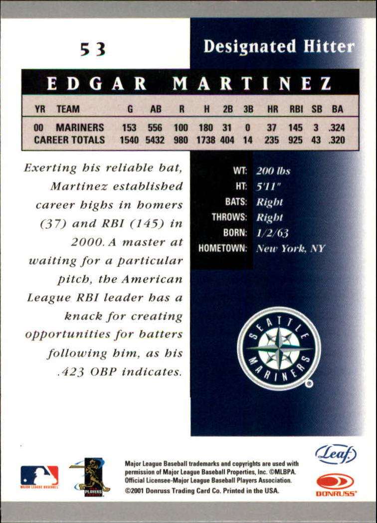 2001 Leaf Certified Materials #53 Edgar Martinez back image