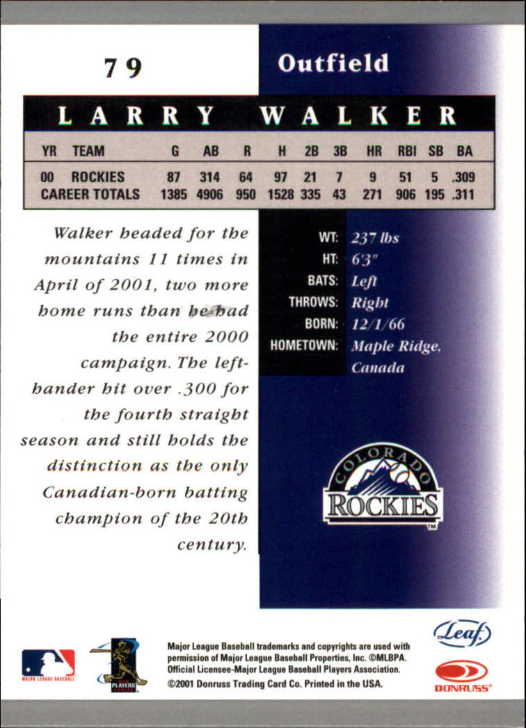 2001 Leaf Certified Materials #79 Larry Walker back image