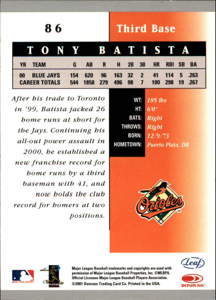 2001 Leaf Certified Materials #86 Tony Batista back image