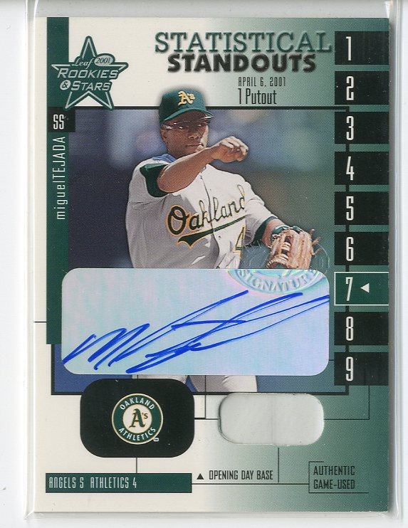 2001 Leaf Rookies and Stars Statistical Standouts Autographs #SS7 Miguel Tejada