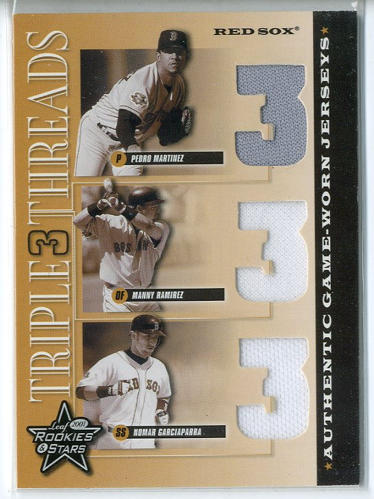 2001 Leaf Rookies and Stars Triple Threads #TT1 Pedro Martinez/Manny Ramirez Sox/Nomar Garciaparra