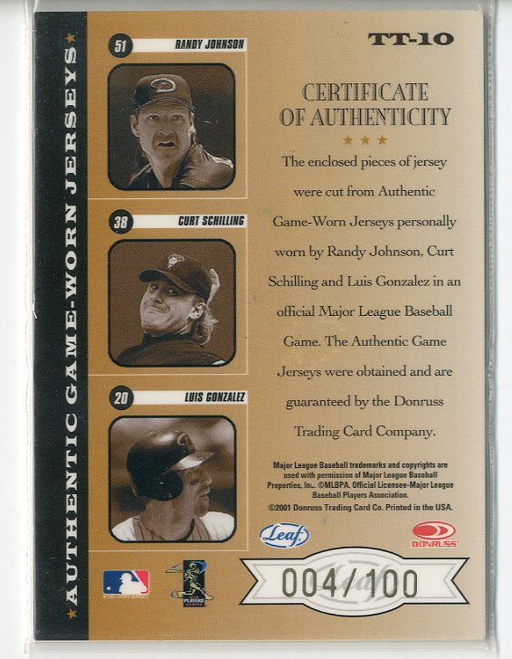 2001 Leaf Rookies and Stars Triple Threads #TT10 Luis Gonzalez/Curt Schilling/Randy Johnson back image
