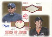 2001 SP Authentic Stars of Japan Game Ball-Base Combos Gold #ISTS Ichiro Suzuki/Tsuyoshi Shinjo