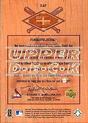 2001 SP Game Bat Milestone Piece of Action International #IAP Albert Pujols back image