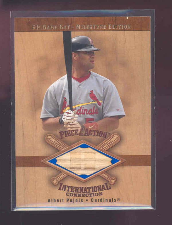 2001 SP Game Bat Milestone Piece of Action International #IAP Albert Pujols