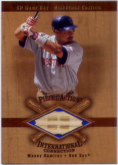 2001 SP Game Bat Milestone Piece of Action International #IMR Manny Ramirez Sox