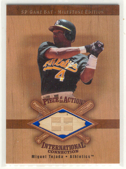 2001 SP Game Bat Milestone Piece of Action International #IMT Miguel Tejada