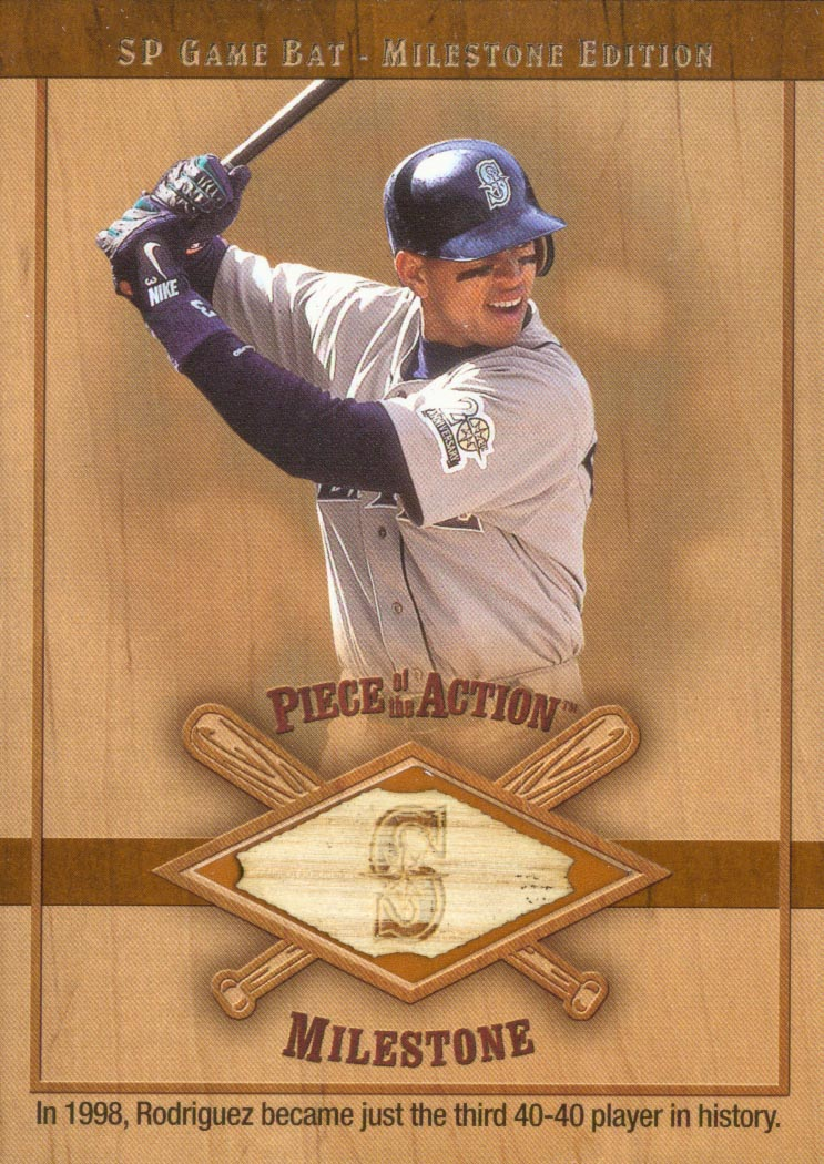 2001 SP Game Bat Milestone Piece of Action Milestone #AR Alex Rodriguez Mariners