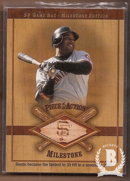 2001 SP Game Bat Milestone Piece of Action Milestone #BB Barry Bonds