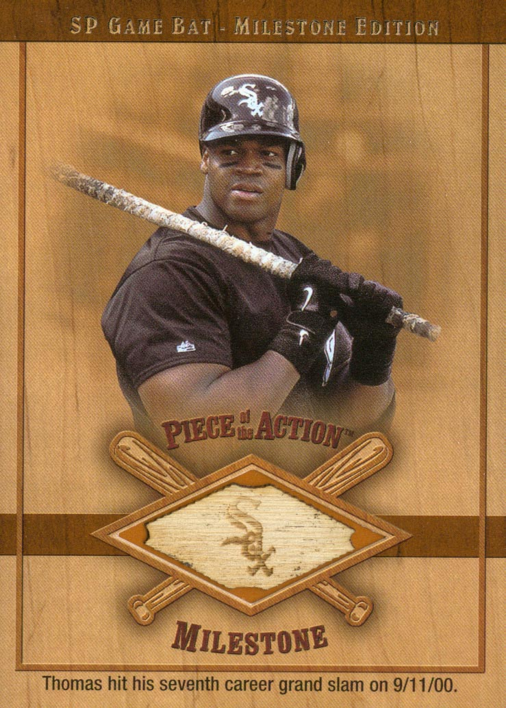 2001 SP Game Bat Milestone Piece of Action Milestone #FT Frank Thomas *