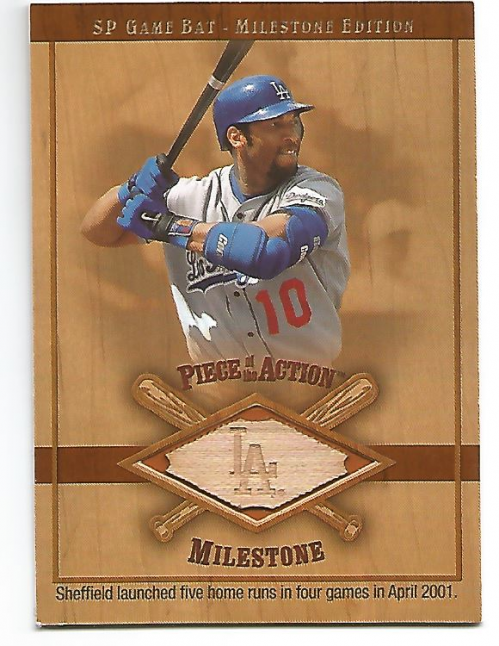 2001 SP Game Bat Milestone Piece of Action Milestone #GS Gary Sheffield
