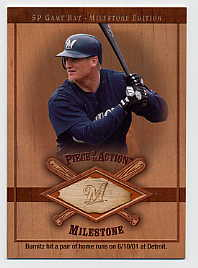 2001 SP Game Bat Milestone Piece of Action Milestone #JBU Jeromy Burnitz