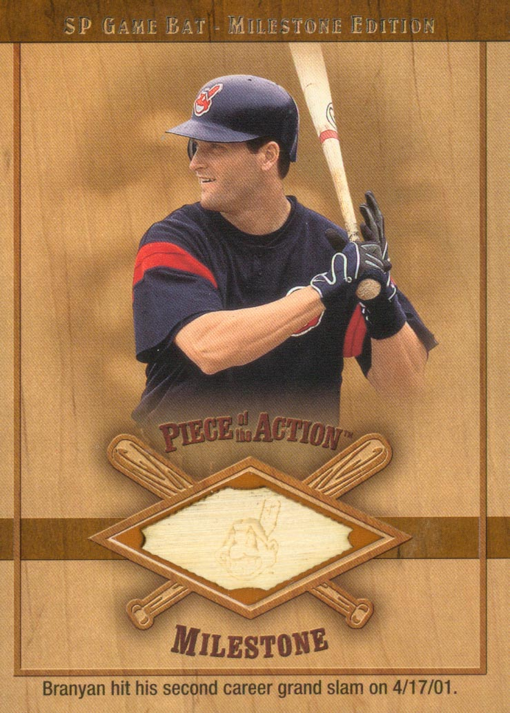 2001 SP Game Bat Milestone Piece of Action Milestone #RB Russell Branyan