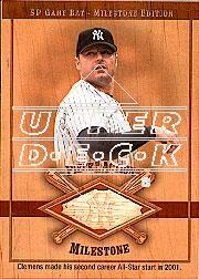 2001 SP Game Bat Milestone Piece of Action Milestone #RC Roger Clemens