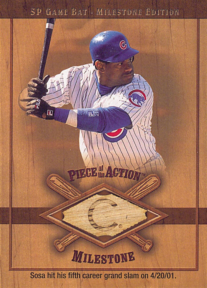 2001 SP Game Bat Milestone Piece of Action Milestone #SS Sammy Sosa *