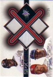 2001 SPx Winning Materials Base Trios #B3BMS Barry Bonds/Mark McGwire/Sammy Sosa
