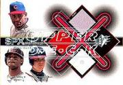 2001 SPx Winning Materials Jersey Trios #SGC Sosa/Griffey/C.Jones
