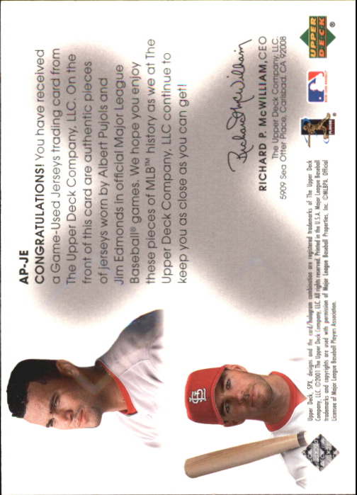 2001 SPx Winning Materials Update Duos #APJE Albert Pujols/Jim Edmonds back image