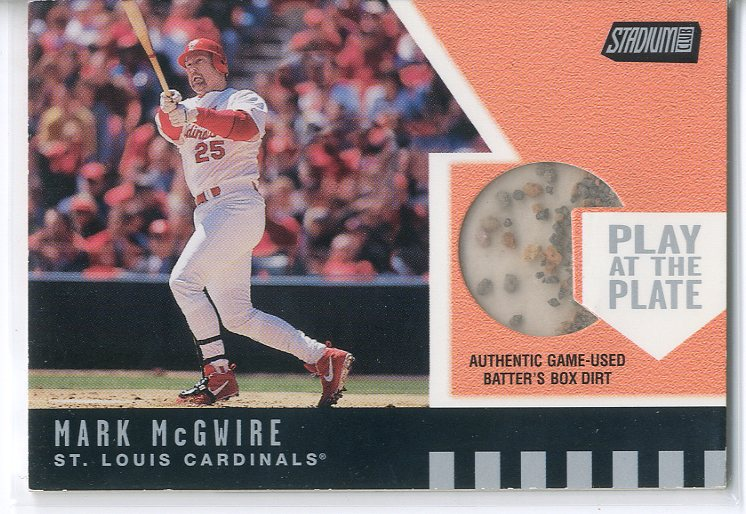 2001 Stadium Club Play at the Plate Dirt Relic #PP1 Mark McGwire ERR