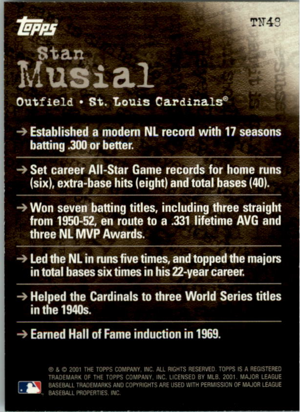 2001 Topps Noteworthy #TN48 Stan Musial back image