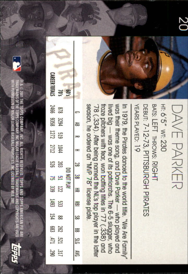 2001 Topps American Pie #20 Dave Parker back image