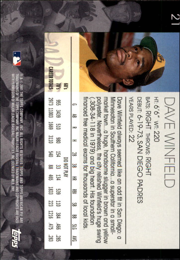 2001 Topps American Pie #21 Dave Winfield back image