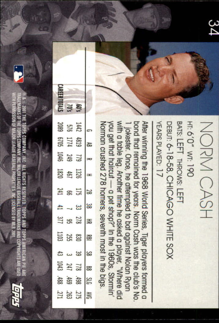 2001 Topps American Pie #34 Norm Cash back image