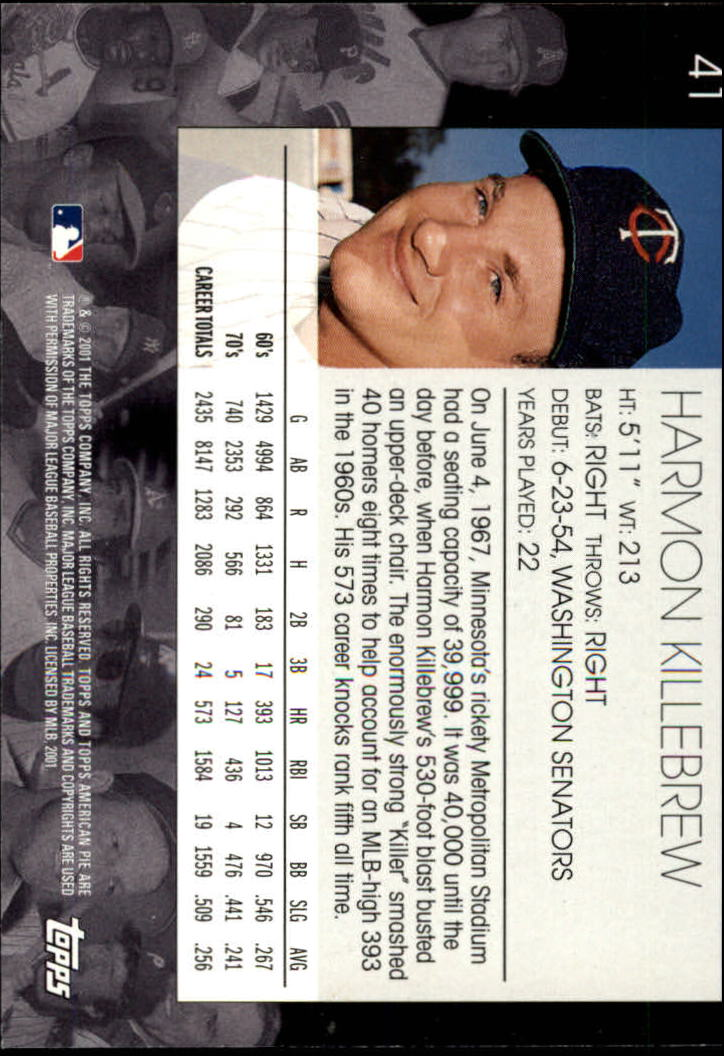 2001 Topps American Pie #41 Harmon Killebrew back image
