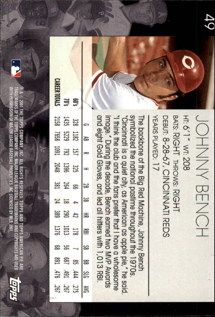 2001 Topps American Pie #49 Johnny Bench back image