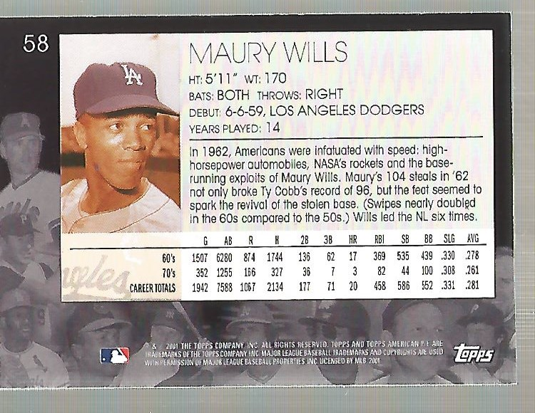 2001 Topps American Pie #58 Maury Wills back image