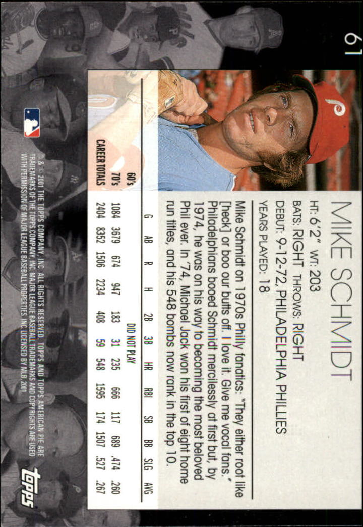 2001 Topps American Pie #61 Mike Schmidt back image