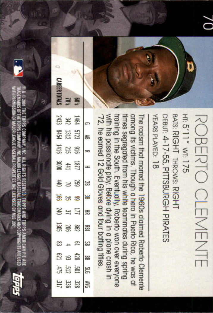 2001 Topps American Pie #70 Roberto Clemente back image