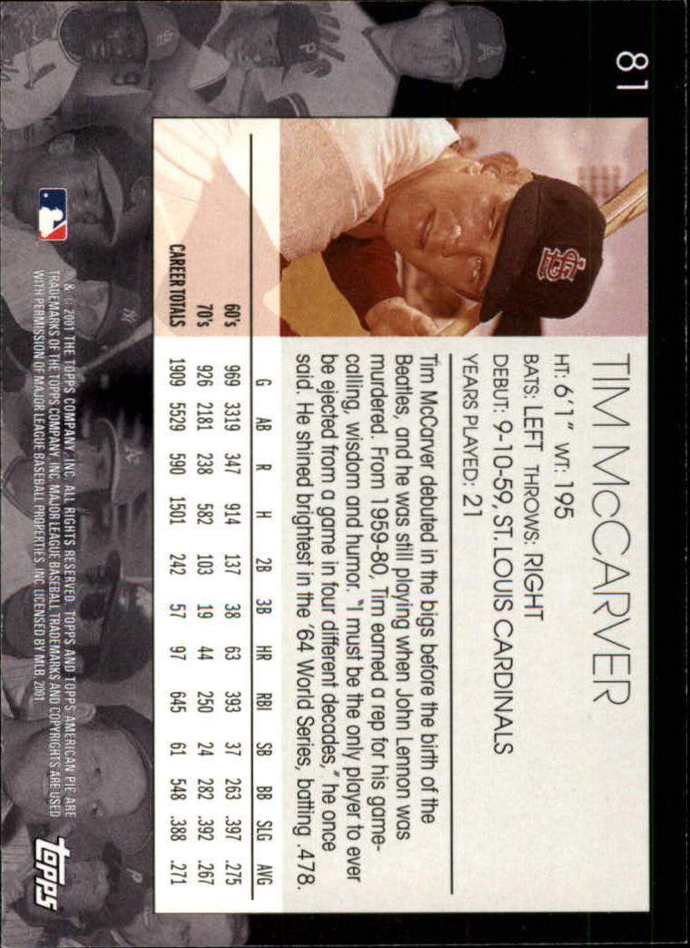 2001 Topps American Pie #80 Thurman Munson back image