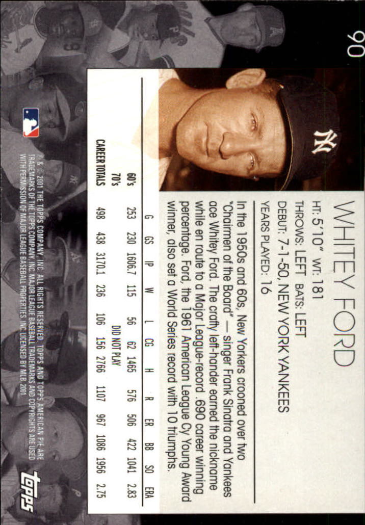 2001 Topps American Pie #90 Whitey Ford back image