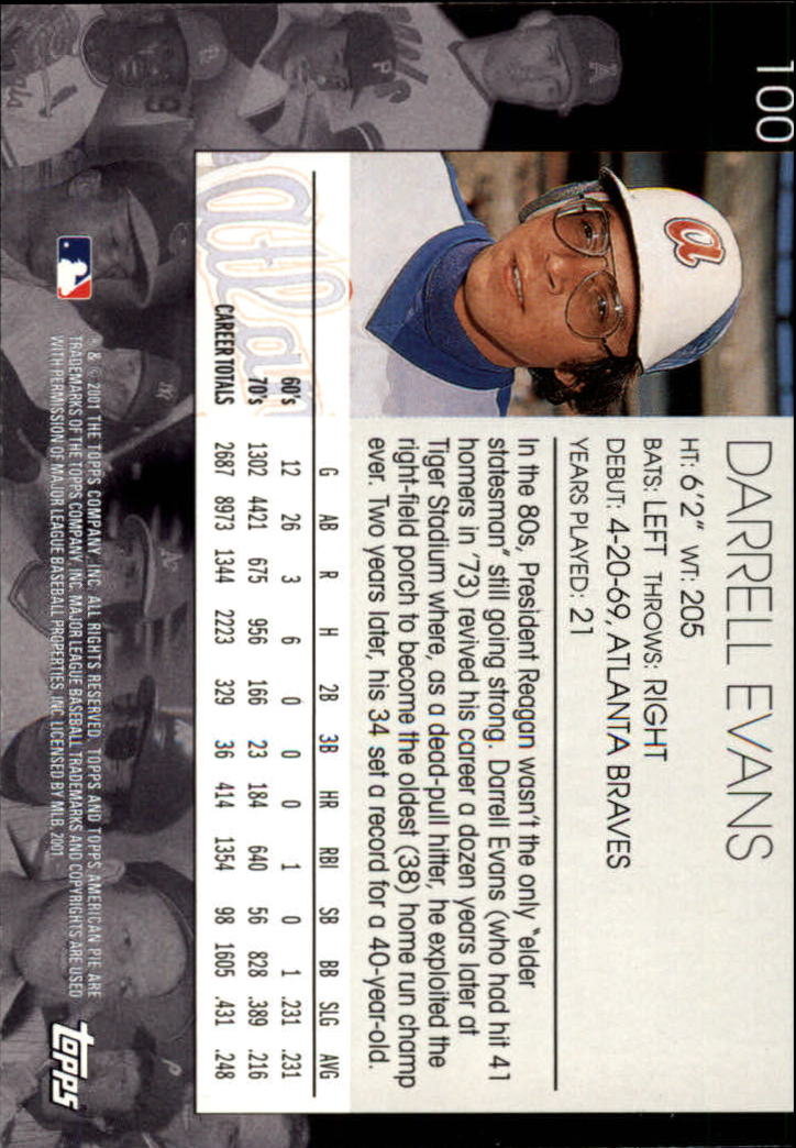 2001 Topps American Pie #100 Darrell Evans back image