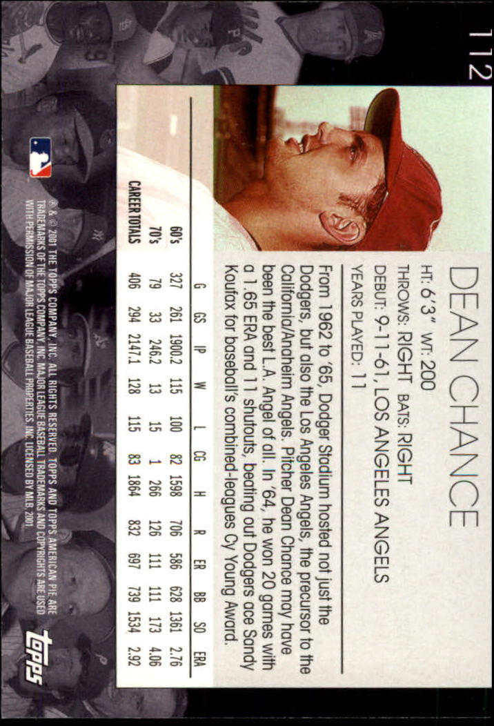 2001 Topps American Pie #112 Dean Chance back image