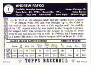 2001 Topps Archives Reserve #62 Andy Pafko 52 back image