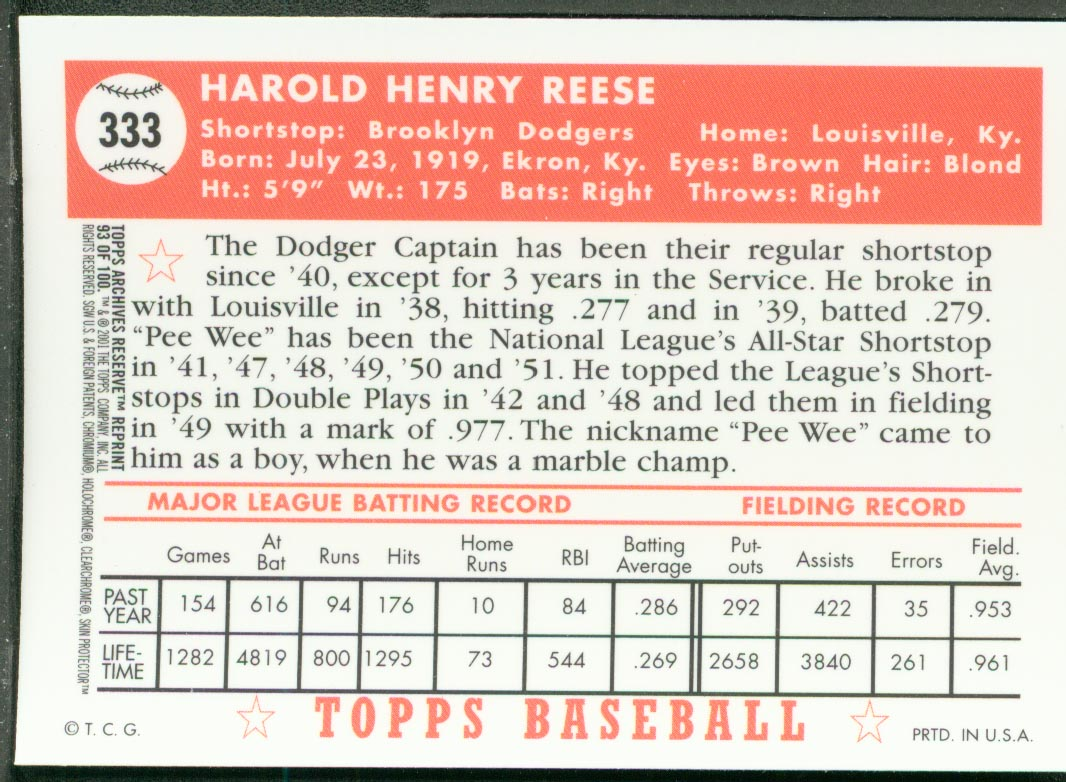 2001 Topps Archives Reserve #93 Pee Wee Reese 52 back image