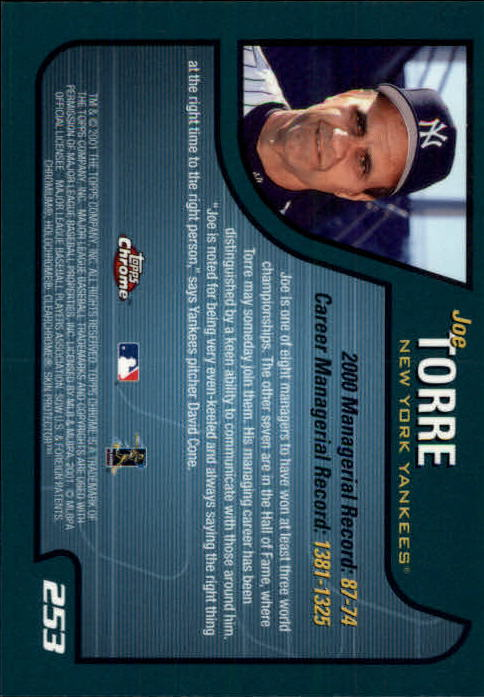 2001 Topps Chrome #253 Joe Torre MG back image