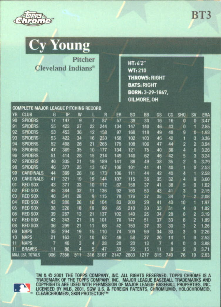 2001 Topps Chrome Before There Was Topps #BT3 Cy Young back image