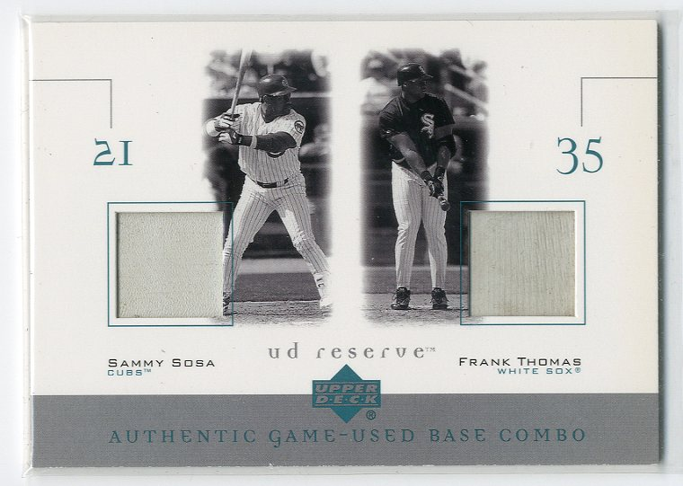 2001 UD Reserve Ball-Base Duos #BST Sammy Sosa/Frank Thomas