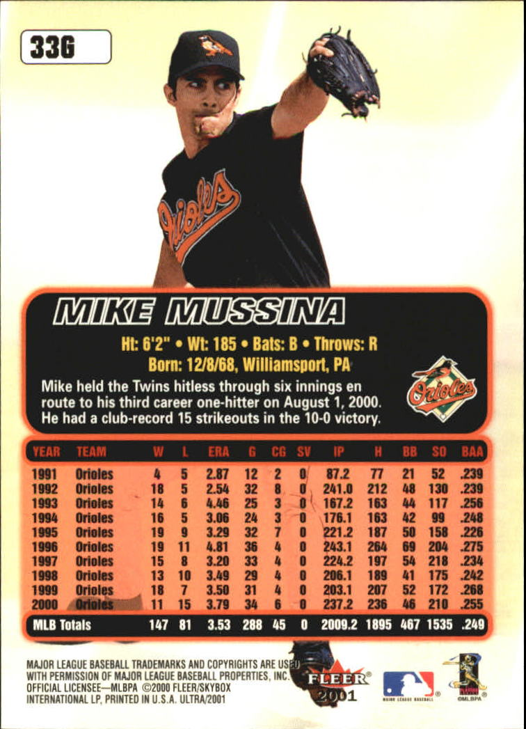 2001 Ultra Gold Medallion #33 Mike Mussina back image